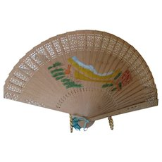 Chinese Vintage Fan from Hong Kong Light Weight Wood