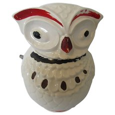 Vintage Ceramic Owl Cookie Jar 1950s