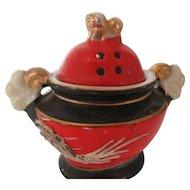 Japanese Porcelain Incense Burner with Foo Dog Finial and Dragon Motif