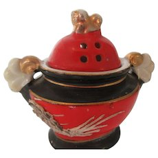 Japanese Porcelain Incense Burner with Foo Dog Finial and Dragon Motif