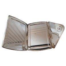 Electroplated Nickel Silver Folding Mirror Purse Size