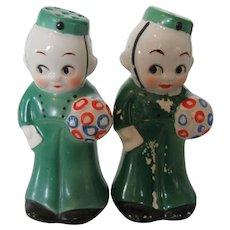 Vintage Japanese Bell Hop or Bell Boy Salt and Pepper Shakers 1940s
