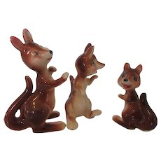 Trio of Kangaroo Shelf Sitters Made in Japan