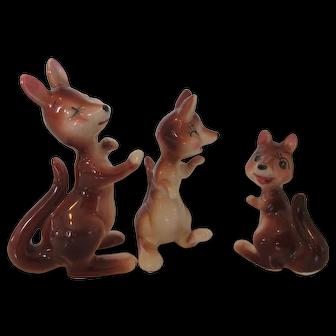 Trio of Kangaroo Shelf Sitters Made in Japan