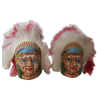 1960s Indian Chief Salt and Pepper Shakers Hand Painted