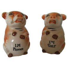 Vintage Pig Salt and Pepper Shakers Japan