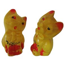 Vintage Cat Salt and Pepper Shakers Missing Stand and Stoppers