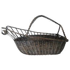 Silver Plate Wine Bottle Serving Basket