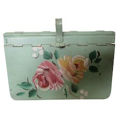 Decorative Notion Box Hand Painted Flowers for Keepsakes
