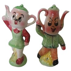 Japanese Coffee Pot and Teapot Salt and Pepper Shakers Hand Painted