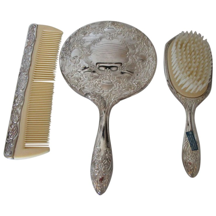 Vintage Silver Plate Dresser Set Heavy Hand Mirror Brush And Comb