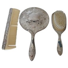 Vintage Silver Plate Dresser Set: Heavy Hand Mirror, Brush and Comb