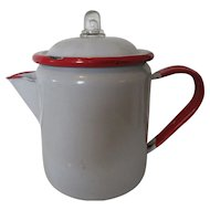 Red and White Enamelwear Coffee Pot-Stove Top