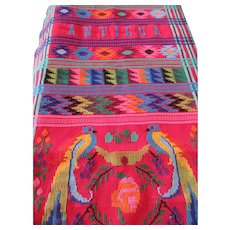 Woven, Colorful Table Runner Parrot Design -Antigua & Guatemala