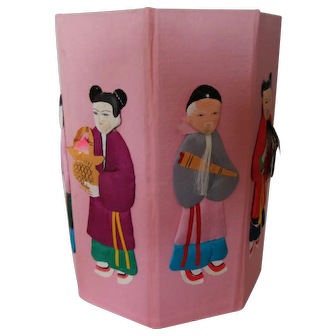 Vintage Hand Painted Silk Chinese Ornament Paper Dolls on an Eight Sided Container.