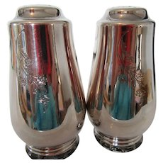 Vintage Silver Metal Shakers with Floral Pattern-Base Opens