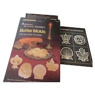 IrvinWare Butter Molds: Rose, Shell, Fleur-De-Lis and Maple Leaf 1980s