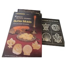 IrvinWare Butter Molds: Rose, Shell, Fleur-De-Lis and Maple Leaf 1980s