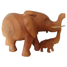 Two Lucky Elephants with Trunks Up Carved in India 1960s
