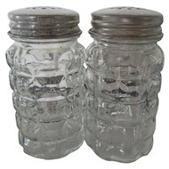 Vintage Anchor Hocking Salt and Pepper Shakers Aluminum Lids