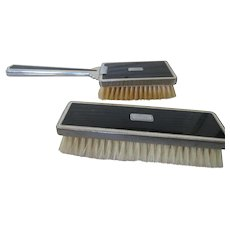 Art Deco 1930s Black and Chrome Vintage Clothes Brushes