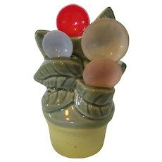 Ceramic Flower Pot Spoon Holder 1940s for Kitchen