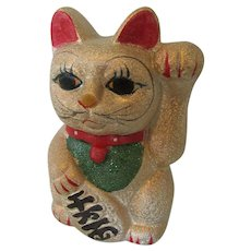 Beckoning Cat Bank Japan -Lucky Maneki Neko in Gold
