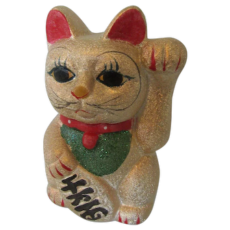 Beckoning Cat Bank Japan -Lucky Maneki Neko in Gold