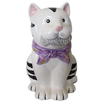 King Fong Ceramic Cat Cookie Jar with Fish 1960s