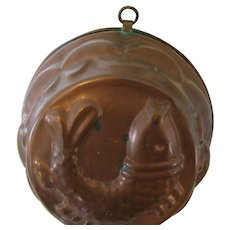 Vintage Copper Baking Mold with Fish to Display or Use