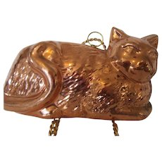 Vintage Copper Cat Mold 1970s Korea Wall Hanging