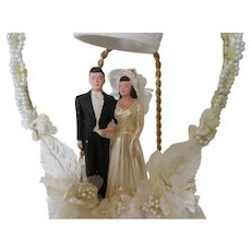 Vintage Bride and Groom Wedding Cake Topper with Pearl Trim 1940s