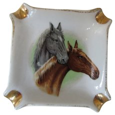 1950s Ashtray with Two Horses and Cigarette Slots