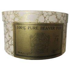 100% Pure Beaver Fur Vintage Hat Box Held Size 7 1/8 Hat