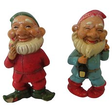 Two Vintage Japanese Gnomes !970s Rustic