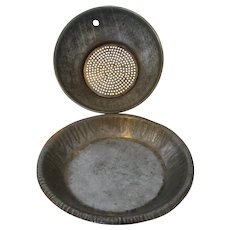 """Vintage Child""""s Tin Pie Pan and Strainer 1940s to 1950s"""