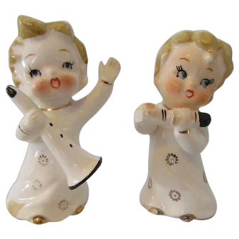 Vintage Ceramic  Musical Angels  Hand Painted Japan