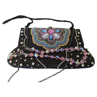 Vintage Black Silk Beaded Bag and Pink Crystal  Necklace