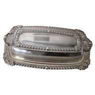 Silver Plate Butter Dish with Glass Insert