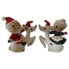 1950s Santa and Mrs Claus Riding Reindeers Salt and Pepper Shakers Japan