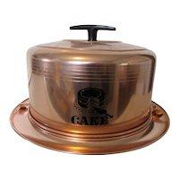 1950s Mirro Cake Carrier U.S.A. Copper Color and Black Trim