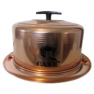1950s Mirro Cake Carrier U.S.A. Copper Color and Black Trim