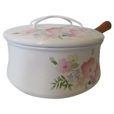 Kobe Cookware Saucepan Floral Pattern and a Wooden Handle Japan