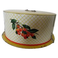 "1940""s Decorware Vintage Cake Carrier - Cherries"