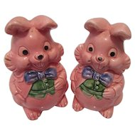 MidCentury Pink Rabbit Salt and Pepper Shakers Japan