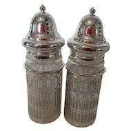 Vintage Glass and Silver Plate Shakers Decorative Metal Trim