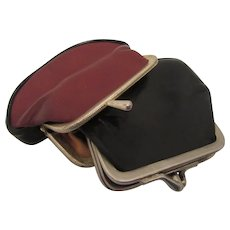1950s Leather Coin Purses with Two Compartments