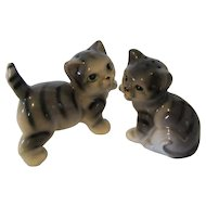 Porcelain Tabby Cats SAlt and Pepper Shakers or Shelf Sitters