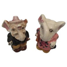Mr. and Mrs. Elephant Hand Painted Salt and Pepper Shakers-Japan