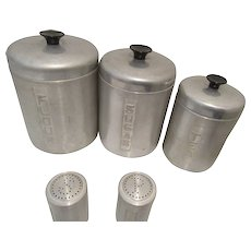 1960's Aluminum Canister Set with Shakers Made in Italy